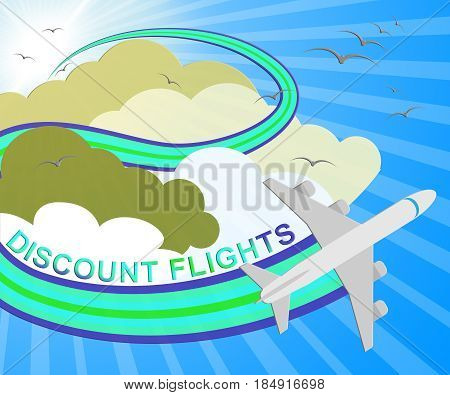 Discount Flights Represents Flight Sale 3D Illustration