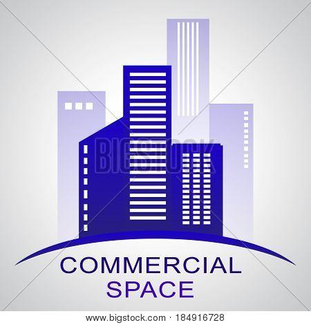 Commercial Space Describing Real Estate Buildings 3D Illustration