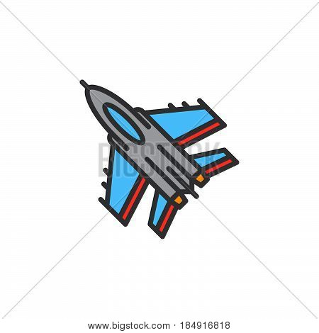 Jet fighter aircraft line icon filled outline vector sign linear pictogram isolated on white. Symbol logo illustration