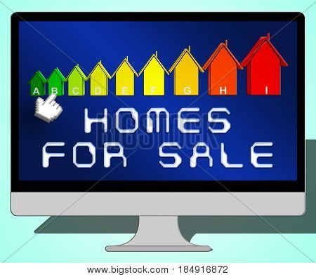Homes For Sale Representing Sell House 3D Illustration