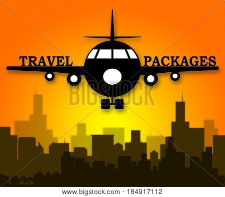 Travel Packages Representing Getaway Tours 3D Illustration