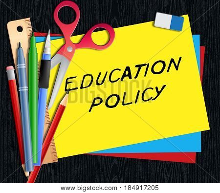 Education Policy Shows Schooling Procedure 3D Illustration