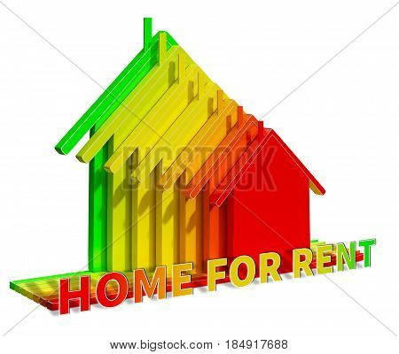 Home For Rent Means Real Estate 3D Illustration