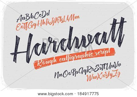 Rough version of calligraphic handwritten font named