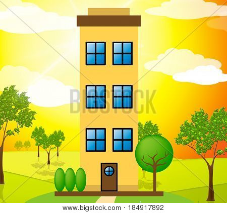 Apartment Building Means Condo Property 3D Illustration