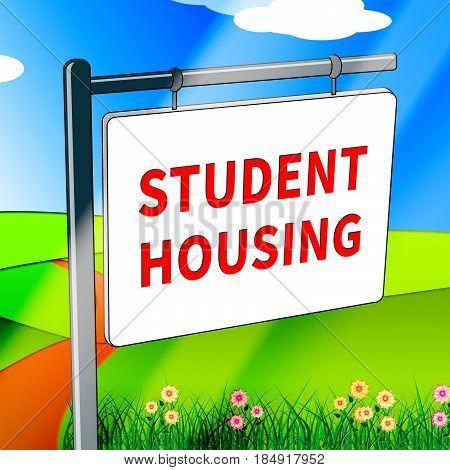 Student Housing Shows University House 3D Illustration