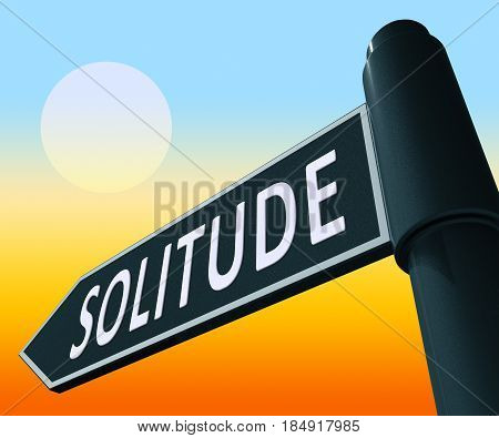 Solitude Sign Displaying Alone And Lost 3D Illustration