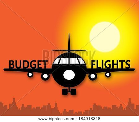 Budget Flights Means Special Offer 3D Illustration