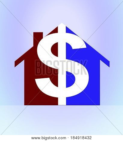 Property Dollar Means Usd House 3D Illustration