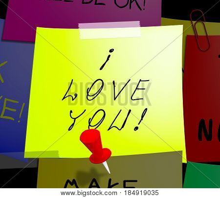 Love You Displays Loving Your Heart 3D Illustration