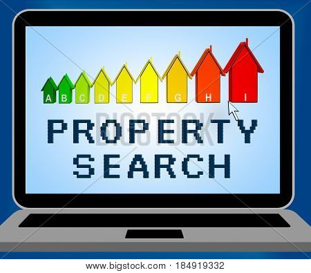 Property Search Representing Find Property 3D Illustration