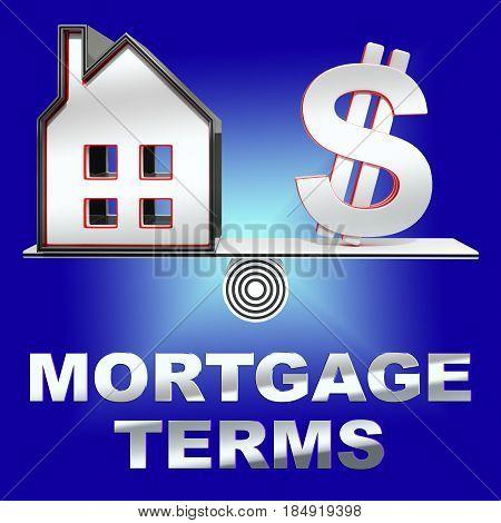 Mortgage Terms Representing Housing Loan 3D Rendering