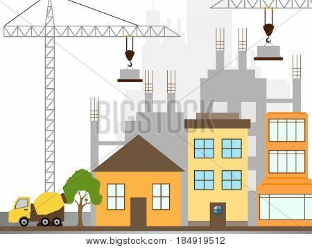 Apartment Construction Describing Building Condos 3D Illustration