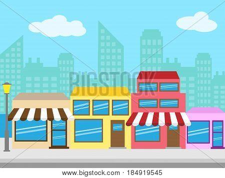 Shopping Street Means Shop Sidewalk 3D Illustration