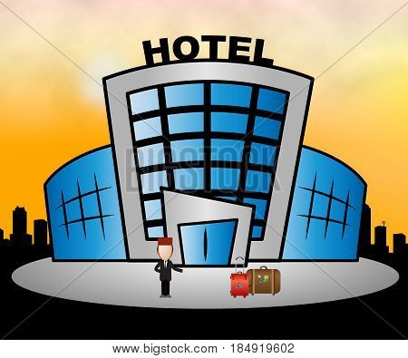 Hotel Resort Means City Accomodation 3D Illustration