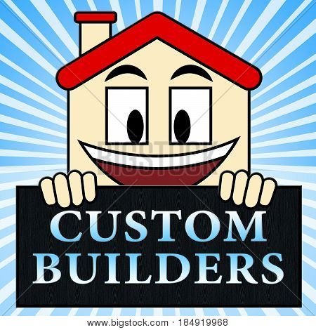 Custom Builders Shows Customized Building 3D Illustration