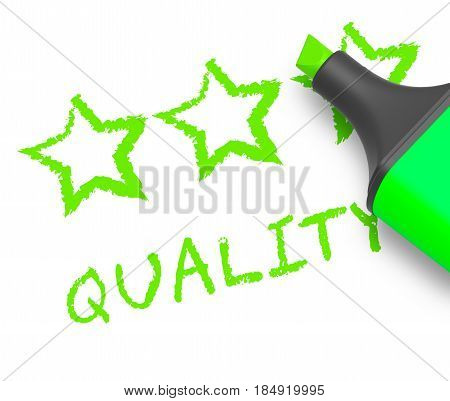 Quality Stars Means Approval Survey 3D Illustration