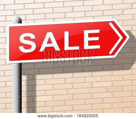 Sale Sign Represents Promotion And Discounts 3D Illustration
