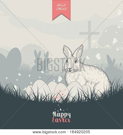 Easter card with Easter Bunny, grass, butterflies