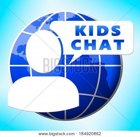 Kids Chat Showing Child Messenger 3D Illustration