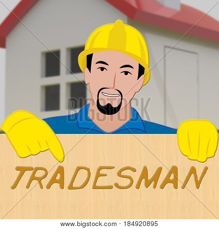 Building Tradesman Showing Home Improvement 3D Illustration