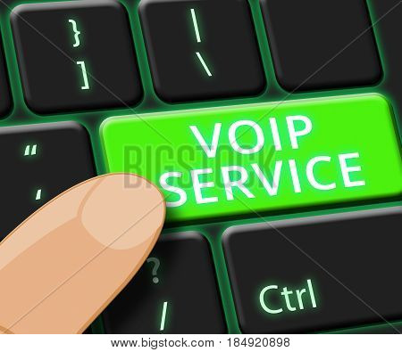 Voip Service Key Shows Internet Help 3D Illustration