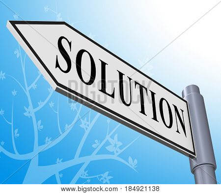 Solution Sign Meaning Solving Successful 3D Illustration