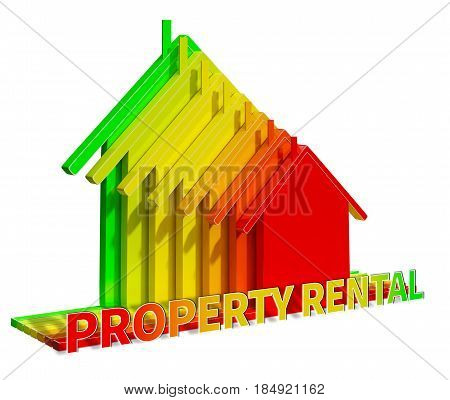 Property Rental Representing House Rent 3D Illustration
