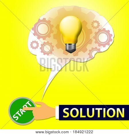 Solution Light Represents Solving Successful 3D Illustration