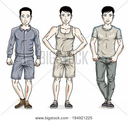 Confident handsome men standing in stylish sportswear sportsman and fitness people. Vector diverse people illustrations set. Lifestyle theme male characters.