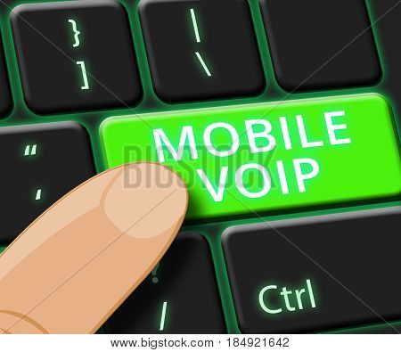 Mobile Voip Key Shows Broadband Telephony 3D Illustration
