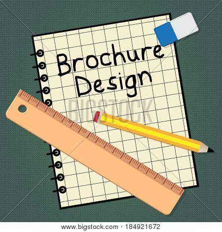Brochure Design Representing Designing Flyer 3D Illustration
