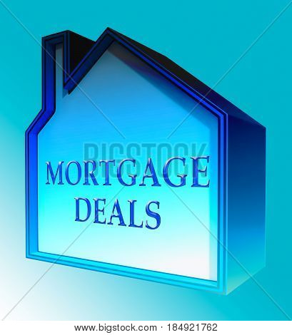 Mortgage Deals Represents Housing Discounts 3D Rendering