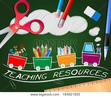 Teaching Resources Showing Classroom Materials 3D Illustration