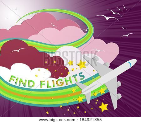 Find Flights Showing Flight Searching 3D Illustration