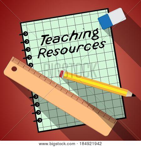 Teaching Resources Represents Classroom Materials 3D Illustration
