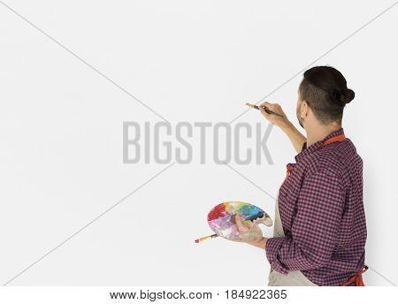 Man Artist Painting Illustration Palette Brushes Studio