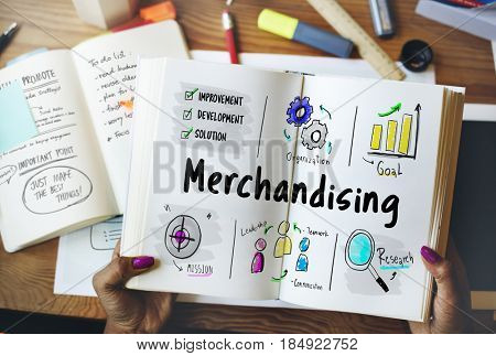 Merchandising business management strategy sketch poster