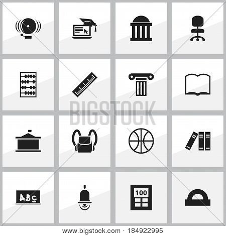 Set Of 16 Editable Graduation Icons. Includes Symbols Such As Bookshelf, Work Seat, Straightedge And More. Can Be Used For Web, Mobile, UI And Infographic Design.