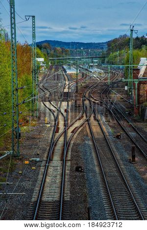 Perspective from obove onto railway tracks and switches