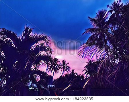 Palm tree crown on sunset sky background. Blue sunset skyscape. Coco palm silhouette on evening sky. Tropical nature landscape digital illustration. Summer vacation in exotic place. Holiday banner
