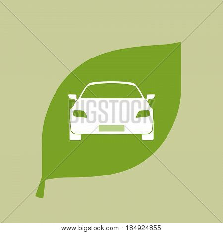 Vector Green Leaf Icon With A Car