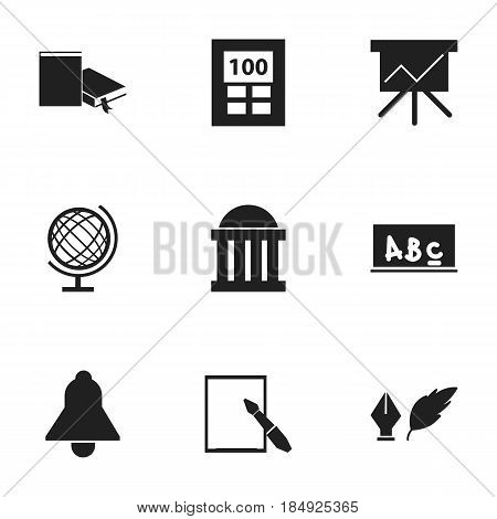 Set Of 9 Editable School Icons. Includes Symbols Such As Literature, Courtroom, Calculator And More. Can Be Used For Web, Mobile, UI And Infographic Design.
