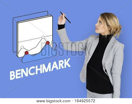 Benchmark businesswoman development graphic