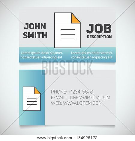 Business card print template with document logo. Manager. Secretary. Editor. Writer. Stationery design concept. Vector illustration