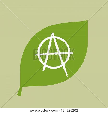 Vector Green Leaf Icon With An Anarchy Sign