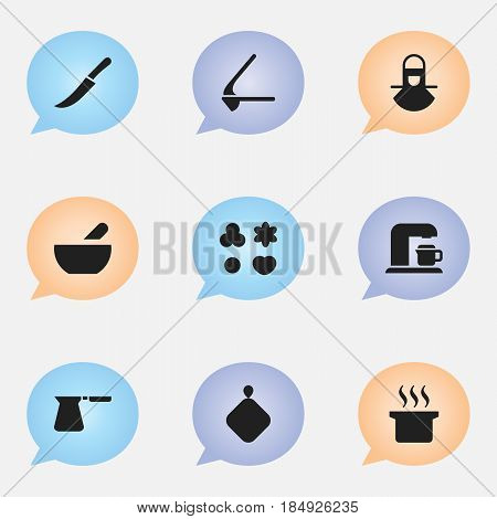 Set Of 9 Editable Cook Icons. Includes Symbols Such As Drink Maker, Sword, Shortcake And More. Can Be Used For Web, Mobile, UI And Infographic Design.
