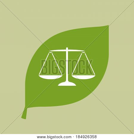 Vector Green Leaf Icon With A Justice Weight Scale Sign