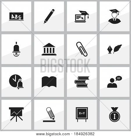 Set Of 16 Editable Education Icons. Includes Symbols Such As Pencil, Staple, Library And More. Can Be Used For Web, Mobile, UI And Infographic Design.
