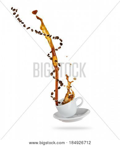 Porcelain white cup with splashing coffee liquid with coffee beans, isolated on white background. Hot drink with splash, beverages and refreshment.